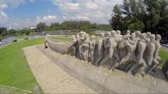 Bandeiras Monument in Ibirapuera Park, Sao Paulo, Brazil - Latin America Stock Footage