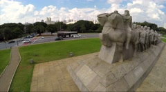Aerial View of Bandeiras Monument in Ibirapuera Park, Sao Paulo, Brazil Stock Footage