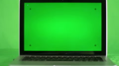 Laptop green screen on the green screen background Stock Footage