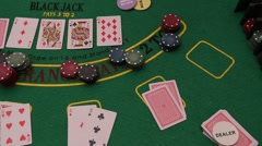 Poker table - Texas Hold'Em, Professional Dolly Shot. Casino, Gambling Stock Footage