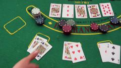 Poker table - Texas Hold'Em Poker, Chips, Professional Dolly Shot. Two Kings Win - stock footage
