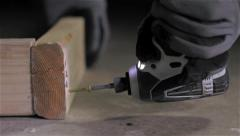 Diving A Screw With An Impact Driver Stock Footage