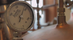 Instrument Guage Metering Pressure On Liquor Still Stock Footage