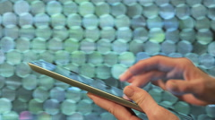 Woman Using IPad In Public Place - stock footage