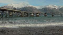 Sandy Alaskan Beach and Nice Waves Stock Footage