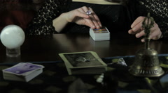 Tarot Cards and Female Hands Stock Footage