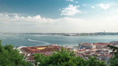 View of the historical Lisbon Baixa downtown and Tagus River, from the Sao Jorge Stock Footage