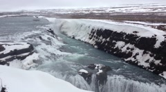 Skógafoss waterfall in the winter Stock Footage
