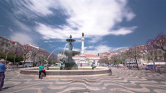 The National Theatre D. Maria.  Rossio Square with fountain, Lisbon, Portugal Stock Footage