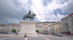 Figueira Square in the Baixa district. King Dom Joao I statue and Sao Jorge Stock Footage