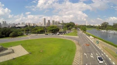 Aerial View from Bandeiras Monument in Ibirapuera Park, Sao Paulo, Brazil Stock Footage