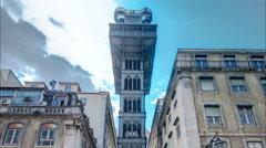 Historic elevator Santa Justa, lift in Lisbon, Portugal. Elevador de Santa Justa Stock Footage