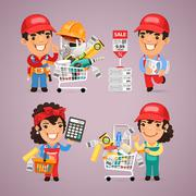 Workers Purchases Materials in DIY for Repair of Apartment Stock Illustration
