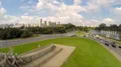 Bandeiras Monument in Ibirapuera Park, Sao Paulo, Brazil - Latin America - stock footage