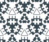 Dark monochrome color angular abstract geometric seamless pattern. Stock Illustration