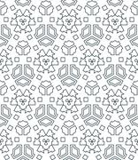Stock Illustration of dark monochrome color angular outline abstract geometric seamless pattern.