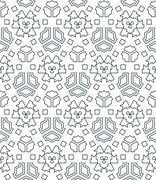 dark monochrome color angular outline abstract geometric seamless pattern. - stock illustration