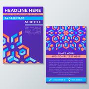 Abstract geometric violet red orange abstract flyer placard template. Stock Illustration