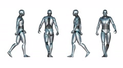 Male Robot Walk Loop (White Background) Stock Footage