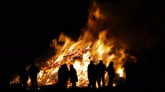 Easter fire in dark night Stock Footage