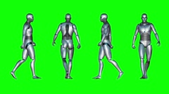 Male Robot Walk Loop (Green Screen) Stock Footage
