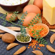 Protein food : eggs, almonds, lentils, cheese, walnut, and curd Stock Photos