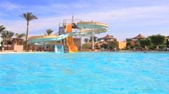 Aqua park slides and pool Stock Footage