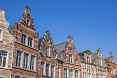Historical facades at the old market square in Leuven Stock Photos