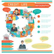Credit Life Infographics - stock illustration