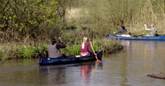 Canoeing group singing 4 Stock Footage