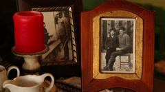 Old framed photos Stock Footage