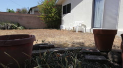 Drought empty pots slide left Stock Footage