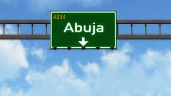 4K Passing Abuja Nigeria Highway Road Sign with Matte 2 stylized Stock Footage
