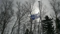 Quebec Canadian Provincial Flag being lowered from half staff Stock Footage