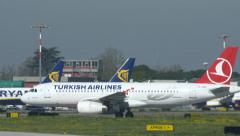 Turkish Airlines jet plane just landed in Bologna Marconi airport Stock Footage