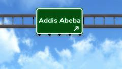 4K Passing Addis Abeba Ethiopia Highway Road Sign with Matte 2 stylized Stock Footage