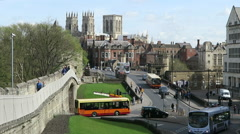 View of York showing city walls Stock Footage