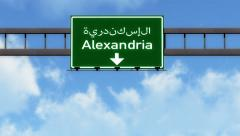 Stock Video Footage of 4K Passing Alexandria Egypt Highway Road Sign with Matte 2 stylized