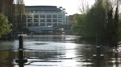 Dam, still water (Caversham bridge) - stock footage