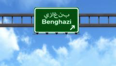 4K Passing Benghazi Lybia Highway Road Sign with Matte 2 stylized Stock Footage