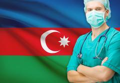 Surgeon with national flag on background - Azerbaijan Stock Photos