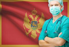 Surgeon with national flag on background - Montenegro Stock Photos