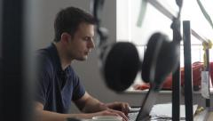 Headphones hanging on the Desk in the office(corporate,social network, business) Stock Footage