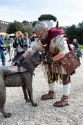 ROME, ITALY - APRIL 19, 2015: Birth of Rome festival - Actors dressed as anci - stock photo