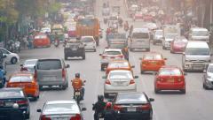 BANGKOK, THAILAND - CIRCA FEB 2015: Heavy Downtown Traffic in Bankok, Thailan Stock Footage