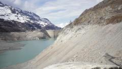 Empty Tignes dam - Jib shot Stock Footage