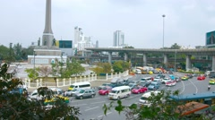 BANGKOK, THAILAND - CIRCA FEB 2015: Heavy Traffic on the Roundabout at the Vi Stock Footage