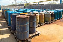 Several barrels of toxic - stock photo