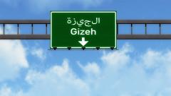 4K Passing Gizeh Egypt Highway Road Sign with Matte 2 stylized Stock Footage