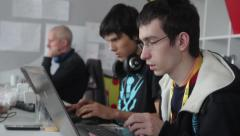 students learn in the classroom with laptops(corporate,social network, business Stock Footage